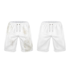 white shorts before and after washing dirt removal vector image vector image