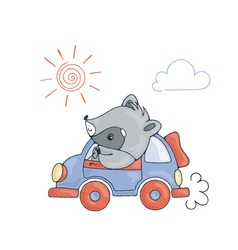 With a cheerful racoon in car vector