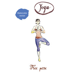 Woman standing in yoga tree pose vector