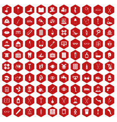 100 disabled healthcare icons hexagon red vector