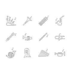 Musical brass instruments flat line icons vector