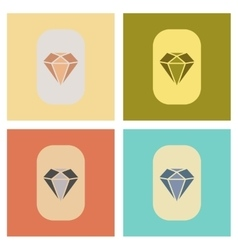 Assembly flat icons poker diamond symbol vector