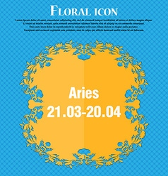 Decorative zodiac aries icon floral flat design on vector
