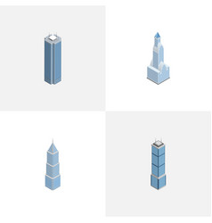 isometric building set of skyscraper apartment vector image