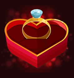 red heart box with ring vector image