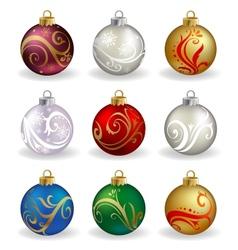 Set of nine different color christmas balls vector image