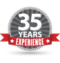 35 years experience retro label with red ribbon vector