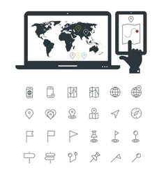 Map line thin icons with laptop and smartphone vector