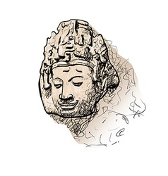 Drawing head of bodhisattva vector