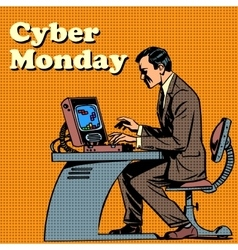 Cyber monday computer and human vector