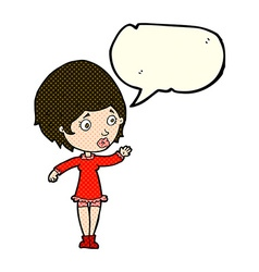 Cartoon pretty woman with speech bubble vector