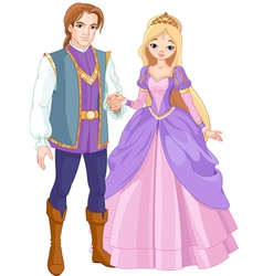 Charming prince and beautiful princess vector