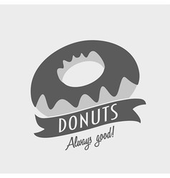 Vintage hipster logo or badge concept of donuts vector