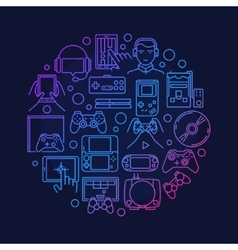 Video games round design vector