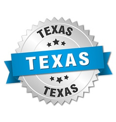 Texas round silver badge with blue ribbon vector
