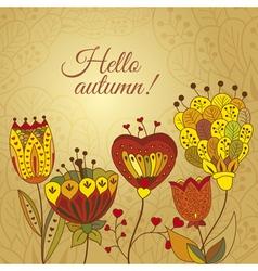 autumn doodles card vector image vector image