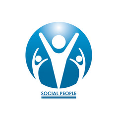 Blue color circular frame teamwork social people vector