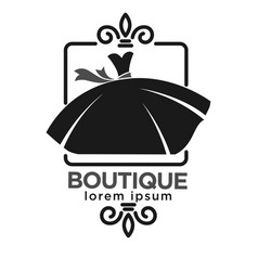 boutique black logo label with dress on white vector image vector image