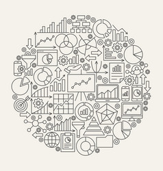 business diagram line icons circle vector image