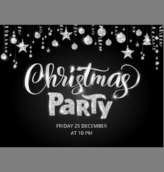 christmas party poster template silver on black vector image vector image