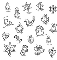 Christmas pattern of gingerbreads vector