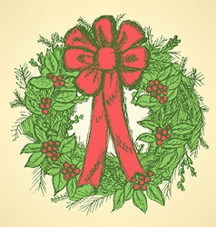 Christmas wreath with mistletoe vector
