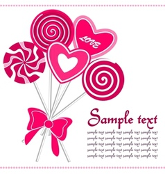 Cute love lollipops background vector image