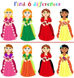 Difference game with princesses vector image vector image