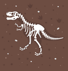 Dinosaur skeleton in the ground vector