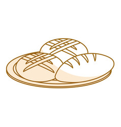 Dish with delicious bread isolated icon vector