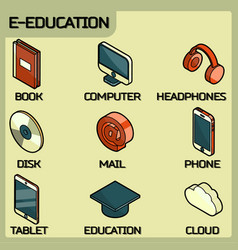 e-education color outline isometric icons set vector image vector image