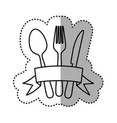 Figure cutlery with ribbon icon vector
