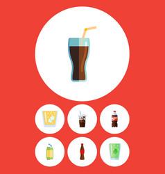 Flat icon beverage set of bottle juice fizzy vector