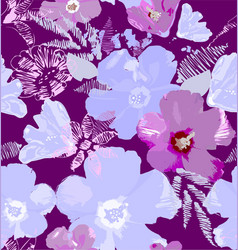 flowers hibiscus in pink vector image