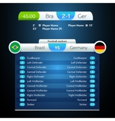 Football soccer scoreboard chart digital vector
