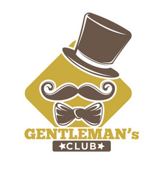 gentlemans club logotype with hat bowtie and vector image vector image