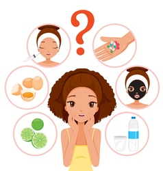 Girl With Pimples On Her Face And Skin Face Icons vector image vector image