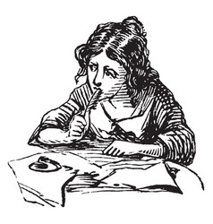 Girl writing or pen rested against her face vector