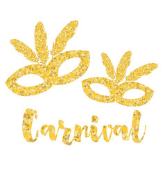 Gold carnival mask masquerade mardi gras vector