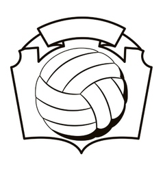 Gray scale emblem with volleyball ball vector