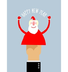 Happy new year businessman hand manipulation doll vector