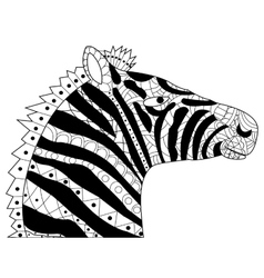 Head zebra coloring for adults vector image