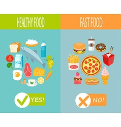Healthy food and fast food vector image vector image