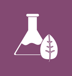 Icon lab flask with leaf vector