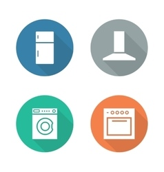 Kitchen electronics flat design icons set vector