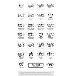 Laundry washing symbols icon set vector image