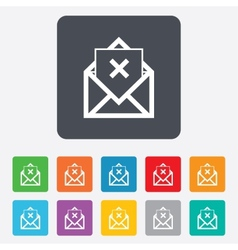 Mail delete icon envelope symbol message sign vector