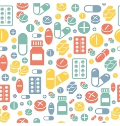 Medical pills and capsules seamless pattern vector image vector image