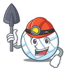 Miner volley ball character cartoon vector