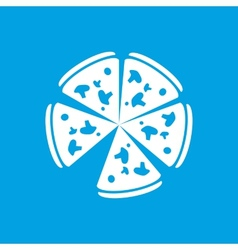 Pizza white icon vector